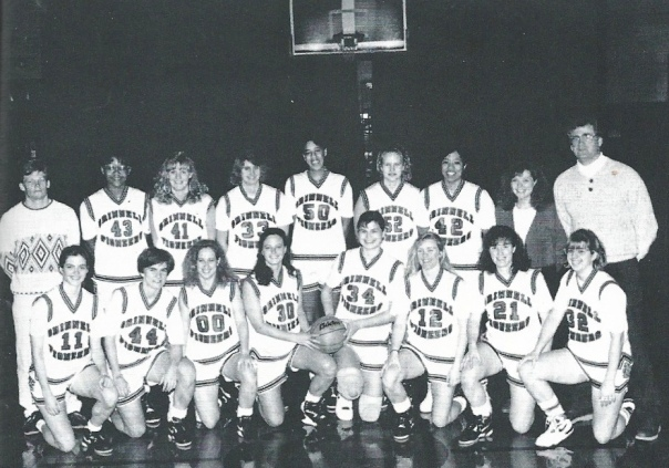 Grinnell College Women's Basketball team (1990-91)  Author in the first row, furthest right (#32)